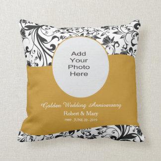 Black Swirl & Gold 50th Wedding Anniversary Photo Cushion