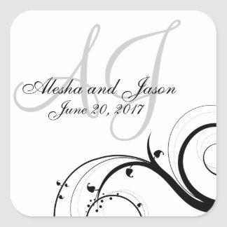 Black Swirl Gray Initials Wedding Favor Label