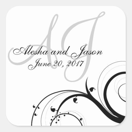 Black Swirl Gray Initials Wedding Favor Label Square Stickers