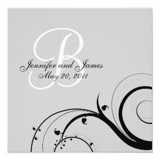 Black Swirl Monogram B Grey Wedding Invitations