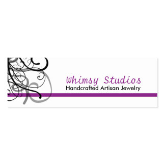 Black Swirl Profile Cards in Purple Pack Of Skinny Business Cards