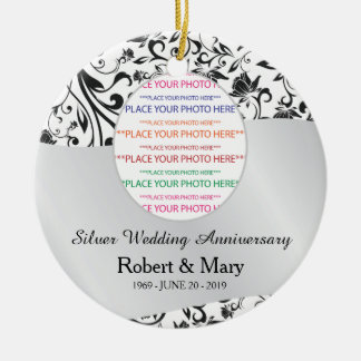 Black Swirl & Silver 25th Wedding Anniversary Ceramic Ornament