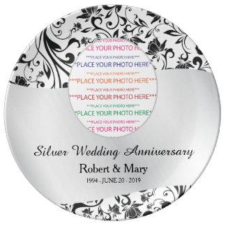 Black Swirl & Silver 25th Wedding Anniversary Plate