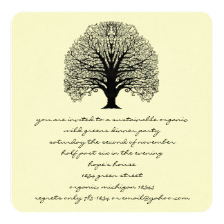 Black Swirl Tree  Invitation