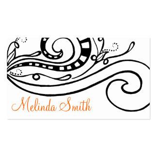 Black Swirled Doodle Design Business Card 2