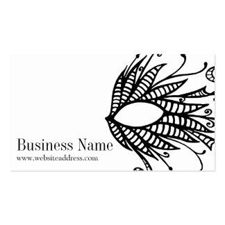 Black Swirled Doodle Mask Design Business Card 2