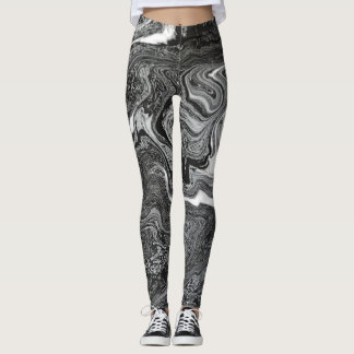 BLACK SWIRLING AURA by Slipperywindow Leggings