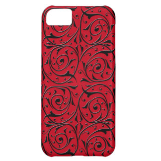 Black Swirling Vines on Red iPhone 5C Case