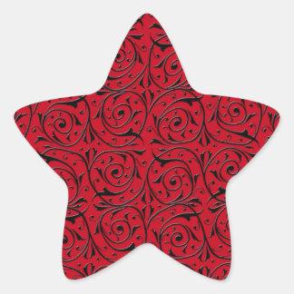 Black Swirling Vines on Red Star Sticker