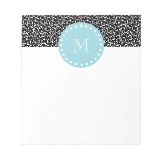 Black Swirls, Blue White Monogram Notepad
