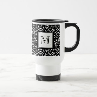 Black Swirls, Custom Monogram, Your Initial Travel Mug