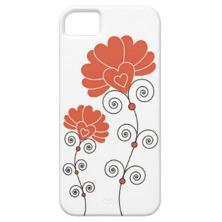 Black Swirls Red Flowers Pattern - White Case For The iPhone 5