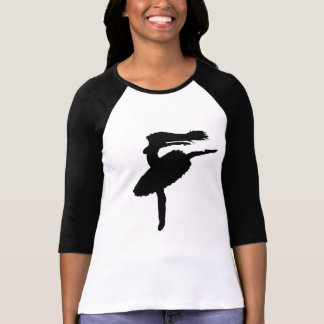 black T-shirt sleeves and painting ballerina