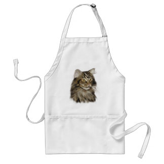 Black Tabby Maine Coon Cat Standard Apron