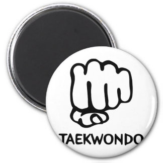 black taekwondo icon 6 cm round magnet