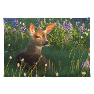 Black-tail Deer Fawn, alpine wildflowers Placemat