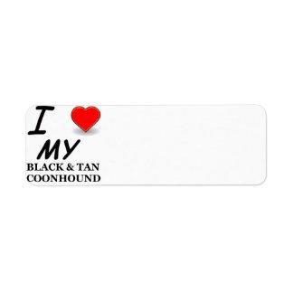 black tan coonhound love return address label