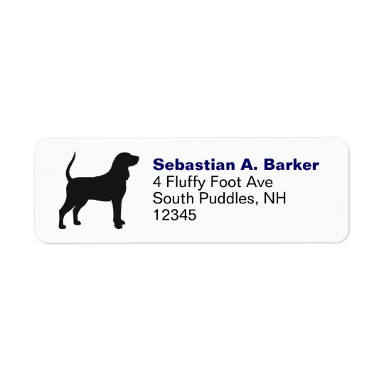 Black & Tan Coonhound Silhouette Return Address Label