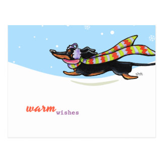 Black Tan Dachshund Cold Run Winter Postcard