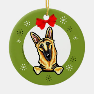 Black Tan German Shepherd Christmas Classic Ceramic Ornament
