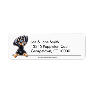 Black Tan Smooth Dachshund Clean & Simple Return Address Label