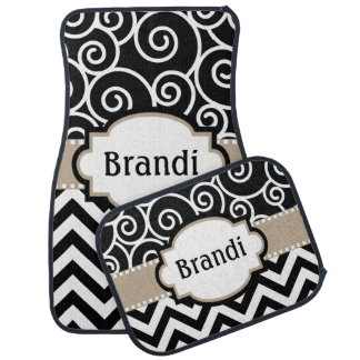 Black Tan Swirls Chevron Monogram Car Mat