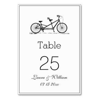Black Tandem Bike Wedding Table Number Cards