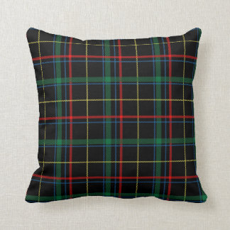 Black Tartan or Plaid Print Throw Pillow