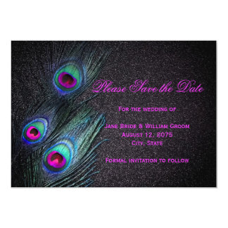 Black Teal and Hot Pink Peacock Save The Date Custom Invites