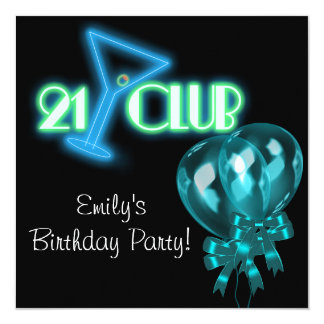 Black Teal Blue Balloons Girls Black 21st Birthday Card