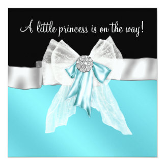 Black Teal Blue Bow Princess Baby Shower Card