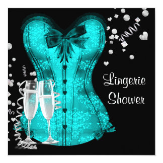 Black Teal Blue Corset Lingerie Bridal Shower 13 Cm X 13 Cm Square Invitation Card