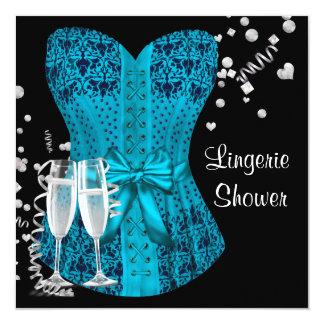 Black Teal Blue Corset Lingerie Bridal Shower Custom Announcements