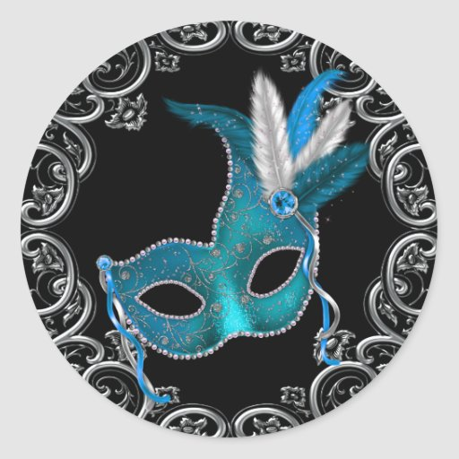 Black Teal Blue Masquerade Party Stickers