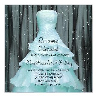 "Black Teal Blue Quinceanera Invitations 5.25"" Square Invitation Card"