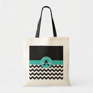 Black Teal Chevron Tote Bag