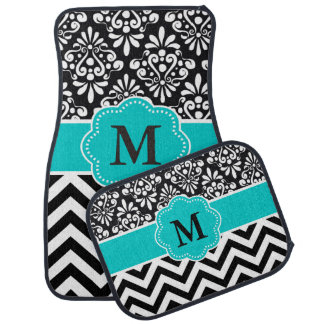 Black Teal Damask Chevron Monogram Car Mat