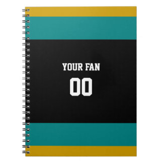 Black, Teal & Gold Football Team Personalized Spiral Notebook
