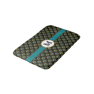 Black Teal Gold Peacock Print Custom Monogram Bath Mat