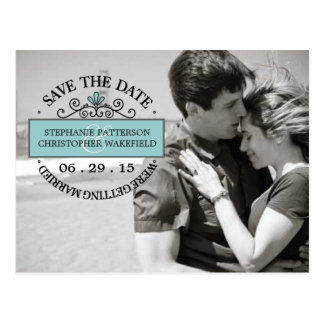 Black | Teal Graphic Stamp Save The Date Postcard