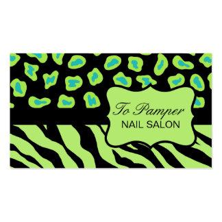 Black, Teal & Green Zebra & Cheetah Skin Custom Pack Of Standard Business Cards