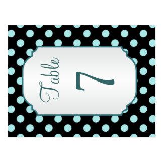 Black teal polka dot Table Number Postcard