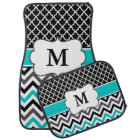 Black Teal Quatrefoil Chevron Monogram Car Mat