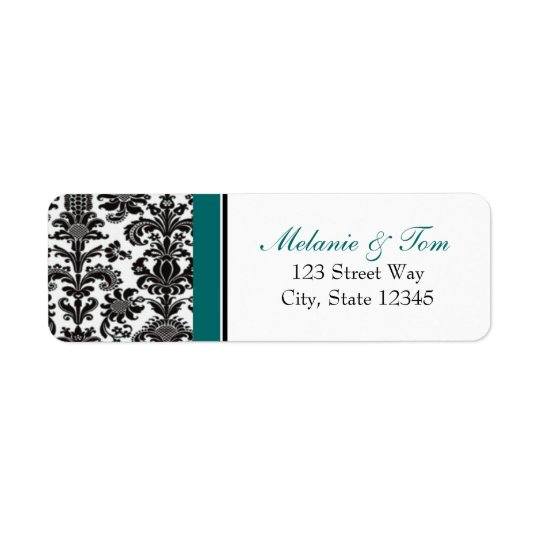 Black & Teal Vintage Damask Return Addess Label