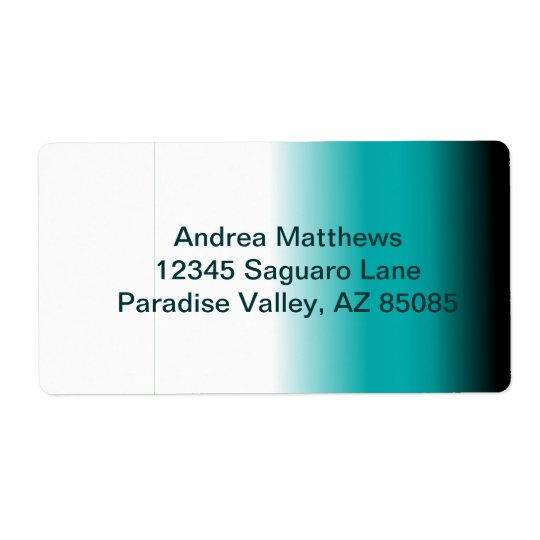 Black Teal White Ombre Shipping Label