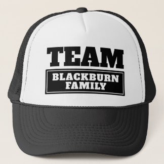 Black team personalized team name or family name trucker hat
