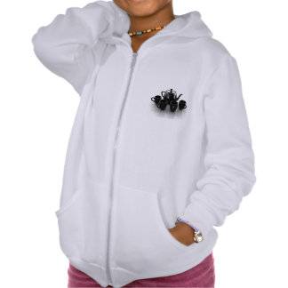 Black Teapot and Cups Girls Hoodie
