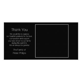 Black Template Sympathy Thank You wit white border Custom Photo Card