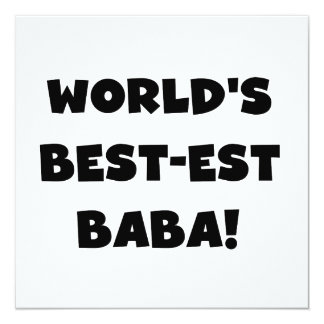 Black Text Best-est Baba T-shirts and Gifts 13 Cm X 13 Cm Square Invitation Card