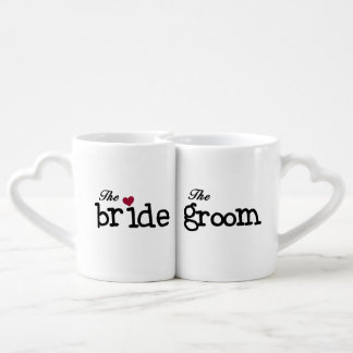 Black Text Bride and Groom Lovers Mugs